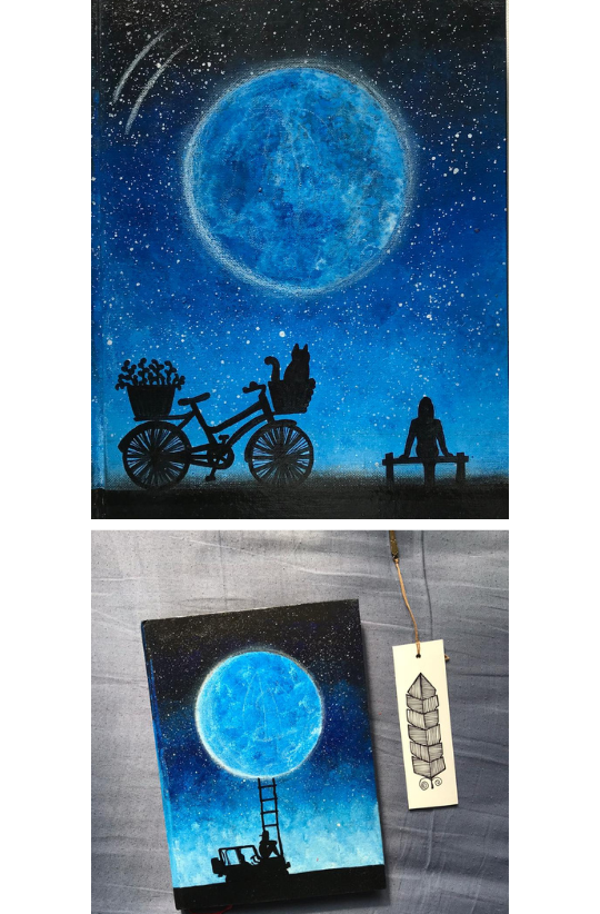 Sample Images for Silhouette with Galaxy or Moon - Art Challenge
